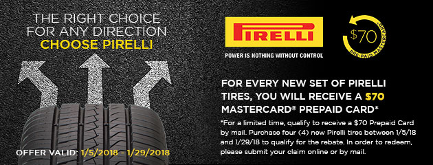 Pirelli - $70 Rebate on Tires