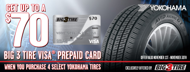 Big 3 - Yokohama Up to $70 Visa Prepaid Card