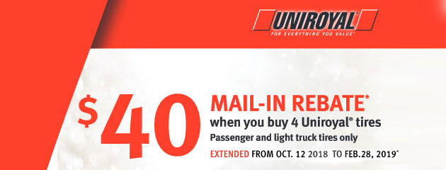 Uniroyal Canada - $40 Mail-In Rebate