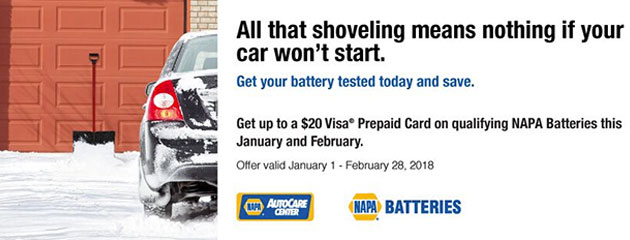 NAPA - $20 Rebate on Select Batteries