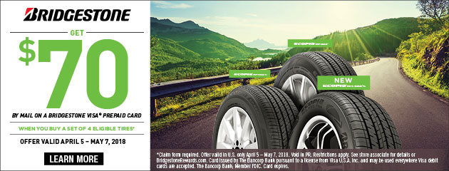 Bridgestone - $70 Back on 4 Select Tires