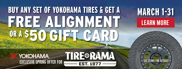 Free Alignment or Gift Card with Set of Yokohama Tires