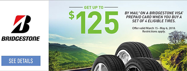 Bridgestone Canada - Up to $125 Reward on Select Tires