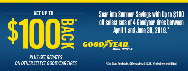 Goodyear - Up to $100 Back on 4 Select Tires