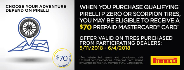 Pirelli - $70 Mail-In Rebate on Select Tires