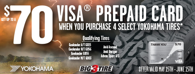 Big 3 - Yokohama Up to $70 On 4 Select Tires