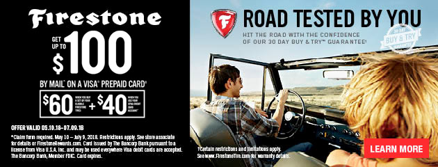 Firestone CFNA - Get Up to $100 By Mail on 4 Select Tires