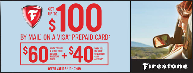 Firestone CFNA - Up to $100 Prepaid Card