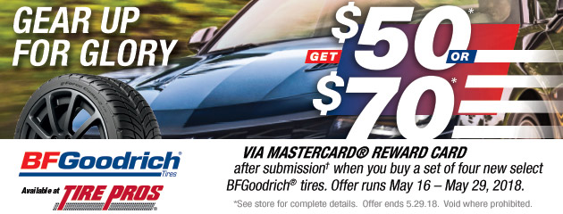 BFGoodrich Tire Pros - Up to $70 Reward on 4 Select Tires