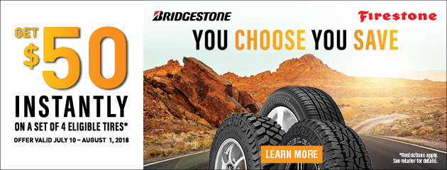 $50 Instantly on a Set of 4 Eligible Tires