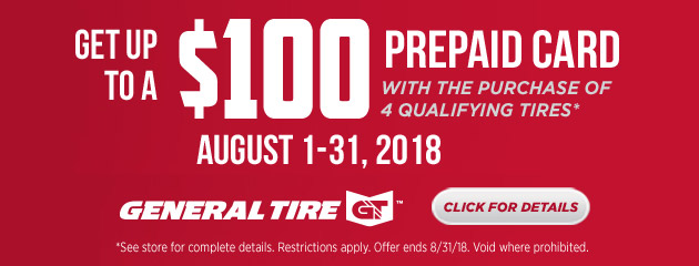 General Tire - Up to $100 Prepaid Card