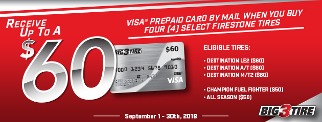 Big 3 - Firestone Up to $60 Prepaid Card