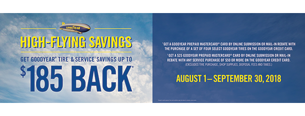 Goodyear TSN - Up to $185 Back on Tires and Service