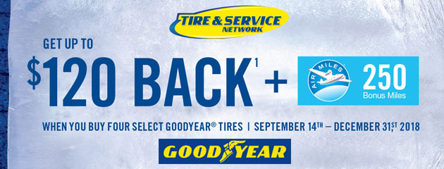 Goodyear TSN Canada - Up to $120 Back on 4 Select Tires