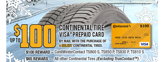 Continental Tire Canada - Up to $100 Rebate