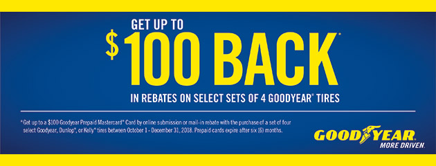 Goodyear Tire Pros - Up to $100 Back on Select Tires