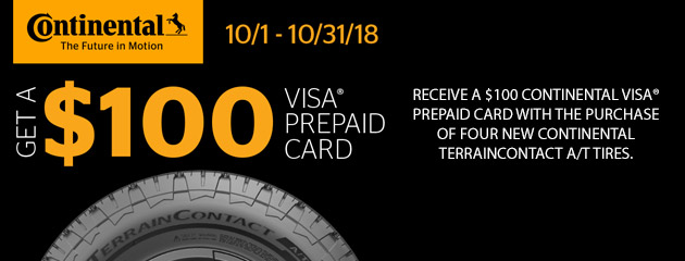 Continental - $100 Visa Prepaid Card on Select Tires