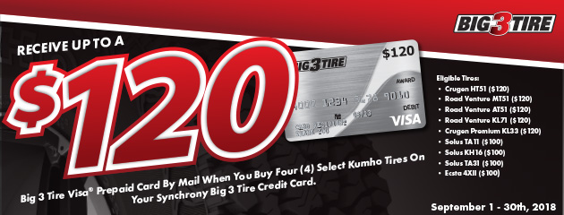 Big 3 - Kumho Up to $120 Prepaid Card