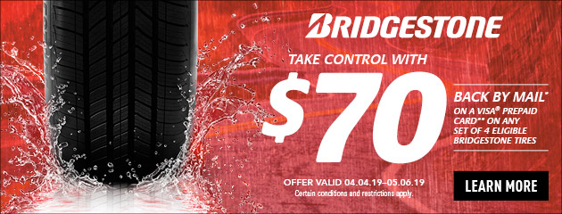 Bridgestone - $70 Back by Mail on Select Tires