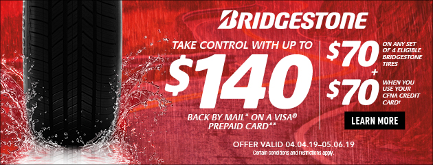 Bridgestone CFNA - Up to $140 Back by Mail on Select Tires