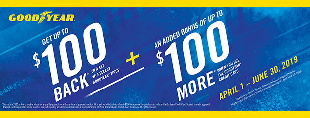 Goodyear Credit Card - Up to $200 Back on Select Tires