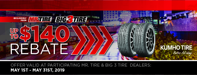 Big 3 - Kumho Up to $140 Rebate
