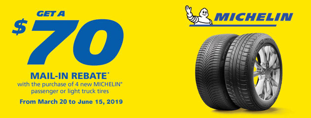 Michelin Canada - $70 Mail-in Rebate