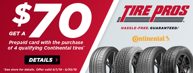 Tire Pros Continental - $70 Prepaid Card