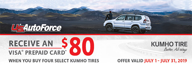 Kumho USAF - $80 Prepaid Card on 4 Select Tires