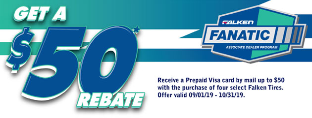 TWI Falken - $50 Visa Prepaid Card on 4 Select Tires