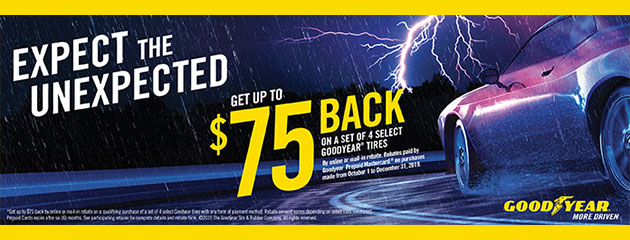 Goodyear - Up to $75 Back on Select Tires