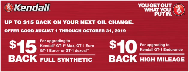 Kendall - Up to $15 Back on Your Next Oil Change