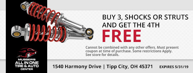 Buy 3 Struts or Shocks and get the 4th one FREE