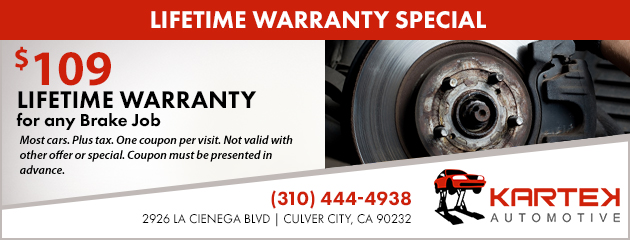 Lifetime Warranty Brake Job Special