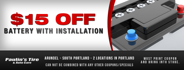 $15 off battery with installation