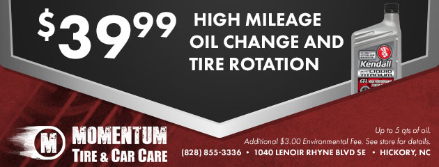 $39.99 High Mileage Oil Change & Tire Rotation