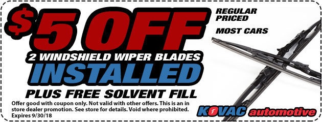 $5 Off Two Wiper Blades Installed