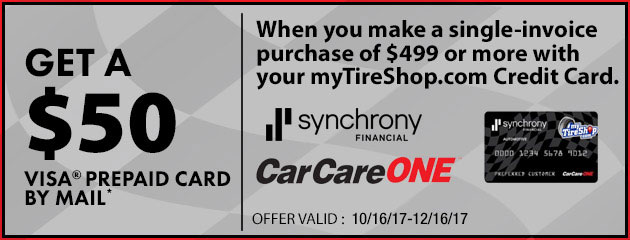 MyTireShop $50 Prepaid Visa Card With Purchase of $499 or More