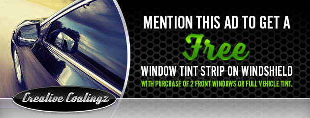 Get a FREE window tint strip on windshield