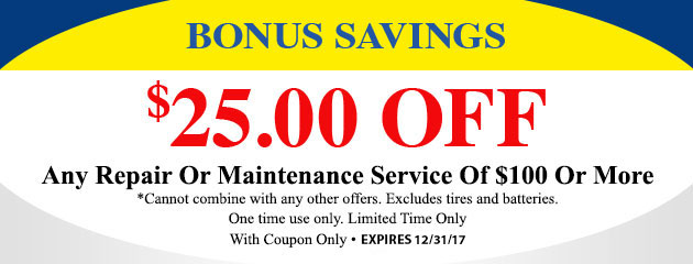 Save $25 Off Any Repair Or Maintenance $100  Or More