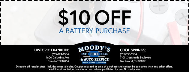 $10 off a Battery Purchase