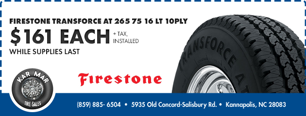 Firestone Transforce AT - $161 Each