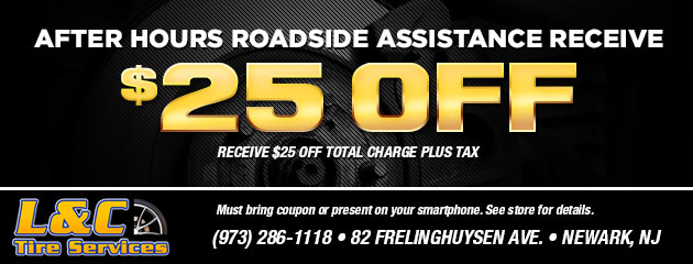 After hours roadside assistance receive $25.00 off