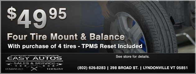 4 Tires Mount and Balance only $49.95 with tire purchase