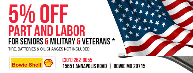 5% off part and labor for Seniors & Military & Veterans
