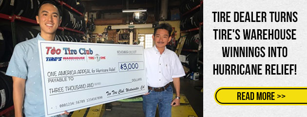 Tire Dealer Turns Tire's Warehouse Winnings Into Hurricane Relief!