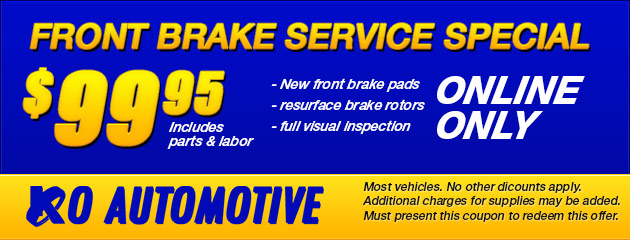 $99.95 Front Brake Service Special