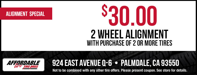 $30.00 2-Wheel Alignment with Tire Purchase