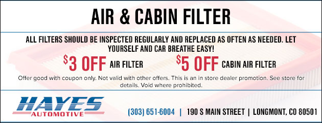 Air & Cabin Filter Special