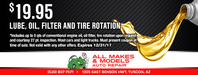 $19.95 - Lube, Oil, Filter, & Tire Rotation